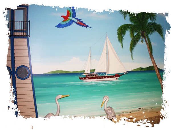 Enjoy the nice view! Seafood Restaurant Mural